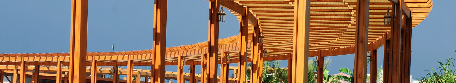 outdoor commercial pergola, made of quality wood